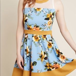 Modcloth Smoking Parlour Blue/Mustard Dress S